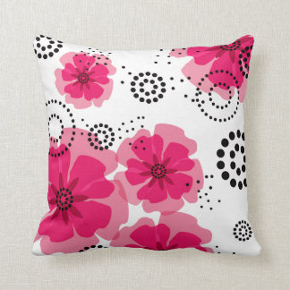 Pepper Poppies | fuschia Throw Pillow