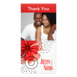 Pepper Poppies Photo Thank You red Personalised Photo Card