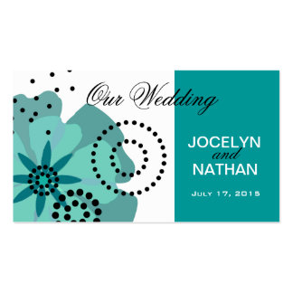 Pepper Poppies Wedding Website teal Business Card Templates