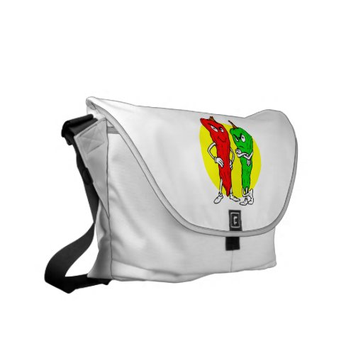 Pepper thugs red green w yellow ciricle courier bag