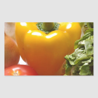 Pepper Tomatoes Vegetables Lettuce Healthy  Food Rectangular Sticker