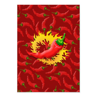 """Pepper with flame 5"""" x 7"""" invitation card"""