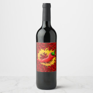 Pepper with flame wine label