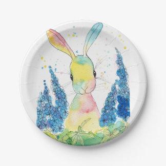 Peppermint Art Delphinium Bunny Paper Plate