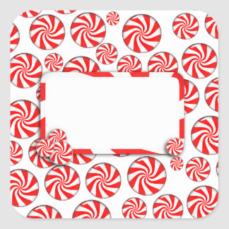 Peppermint Candy Background w/ Removable Tag Square Sticker