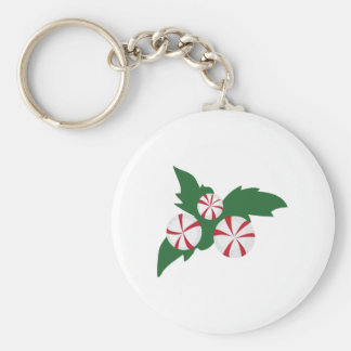 Peppermint Candy Basic Round Button Key Ring