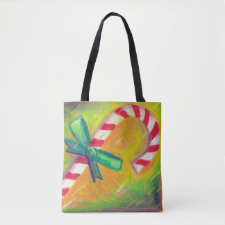 Peppermint Candy Cane Artistic Color Christmas Tote Bag