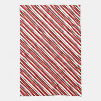 Peppermint Candy Cane Stripes w/Green | Christmas Kitchen Towel