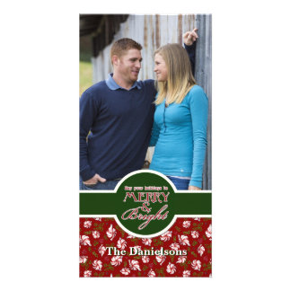 Peppermint Candy Christmas Modern Ornaments Photo Cards