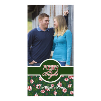 Peppermint Candy Christmas Modern Ornaments Customized Photo Card