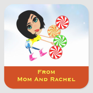 Peppermint Candy Gift Tag Stickers