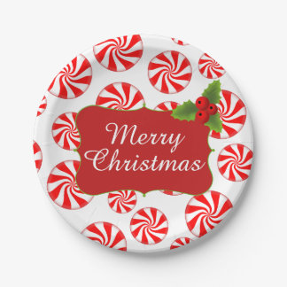 Peppermint Candy Merry Christmas Party Paper Plate
