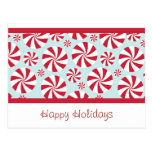 Peppermint Candy Red and Blue Holiday Postcards