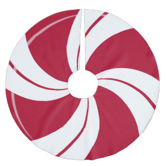 Peppermint Candy Swirl Brushed Polyester Tree Skirt