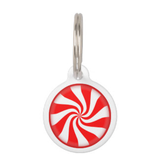 Peppermint Candy Swirl Pet Name Tag
