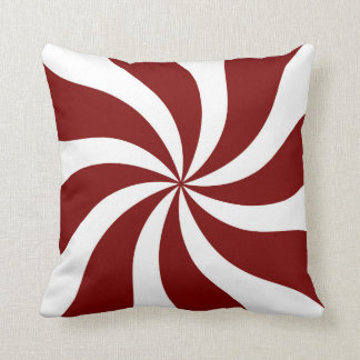 Peppermint Candy Swirl Red and White Cushion