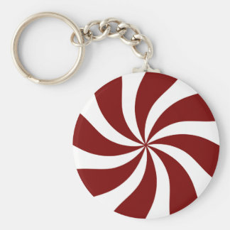 Peppermint Candy Swirl Red and White Key Ring