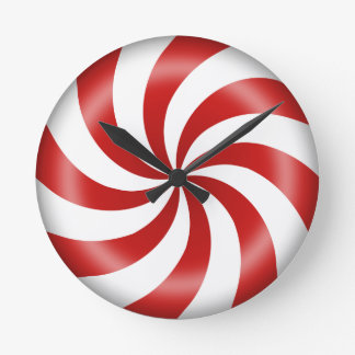 Peppermint Candy Swirl Round Clock