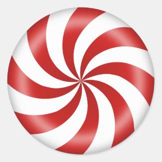 Peppermint Candy Swirl Round Sticker