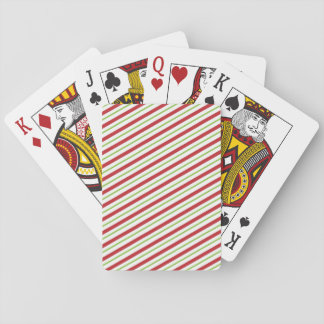 Peppermint Christmas Candy Red Green Stripes Playing Cards