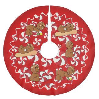 Peppermint & Gumdrop Christmas Gingerbread Men Brushed Polyester Tree Skirt