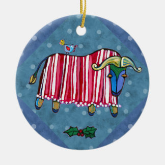 Peppermint Ox Christmas Tree Ornament