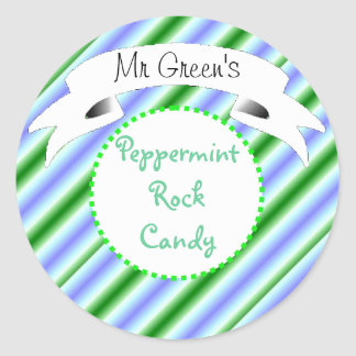 Peppermint rock candy striped label round sticker