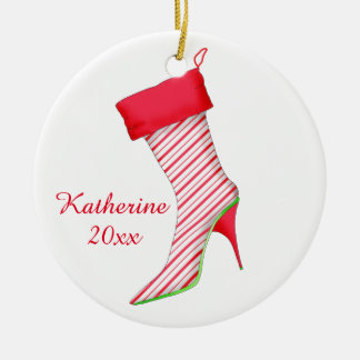Peppermint Shoe Lover Christmas Ornament with Name