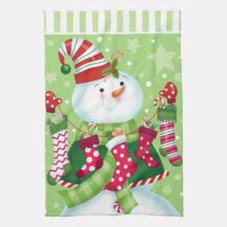 Peppermint Snowman 2 Kitchen Towel