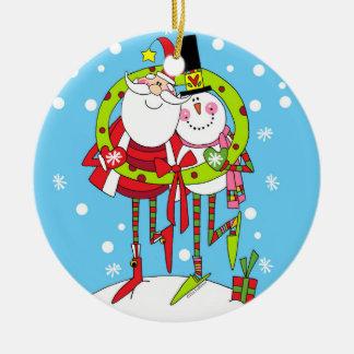 Peppermint Stix Santa and Snowman Ornament