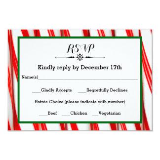 Peppermint Stripe Christmas- RSVP Response Card 9 Cm X 13 Cm Invitation Card
