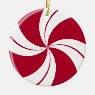 Peppermint Swirl Stripe Candy Round Ceramic Decoration