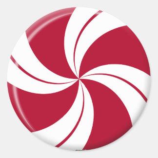 Peppermint Swirl Stripe Candy Round Sticker