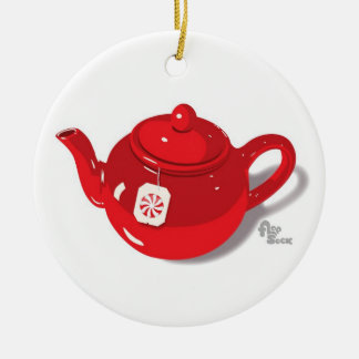 Peppermint Teapot Holiday Ornament