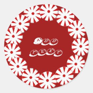 Peppermint wreath classic round sticker