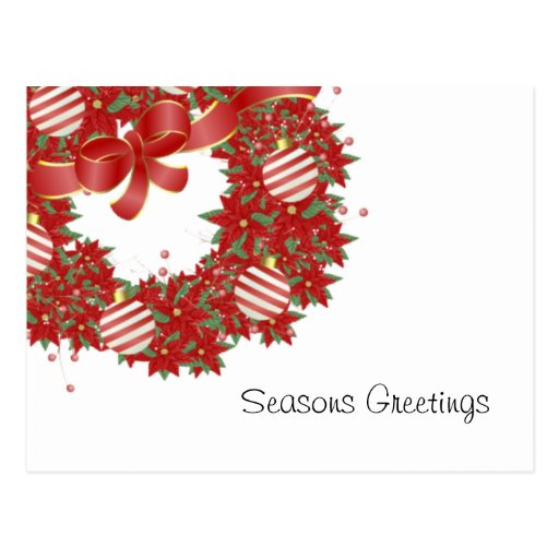 Peppermint Wreath Greetings Post Cards