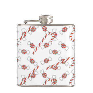 Peppermints And Candy Canes White Red Christmas Hip Flask