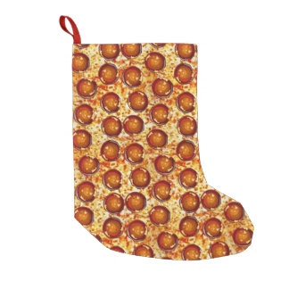 Pepperoni and Cheese Pizza Pattern Small Christmas Stocking