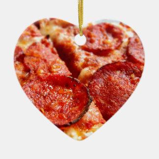 Pepperoni pizza ceramic heart decoration