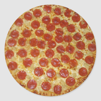 Pepperoni pizza classic round sticker