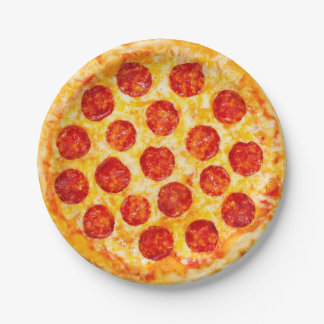 pepperoni pizza paper plate for that pizza party