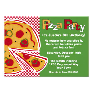 Pepperoni Pizza Party Personalized Invite