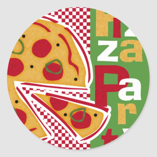 Pepperoni Pizza Party Round Sticker