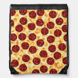 Pepperoni Pizza Pattern Drawstring Bag