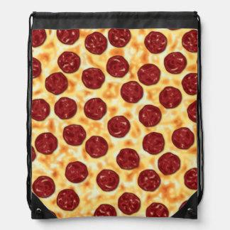 Pepperoni Pizza Pattern Drawstring Bag