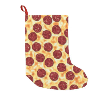 Pepperoni Pizza Pattern Small Christmas Stocking