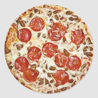 Pepperoni Pizza Refrigerator Magnet Classic Round Sticker