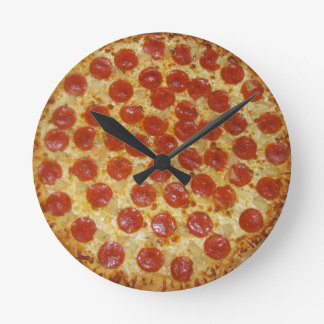 Pepperoni pizza round clock