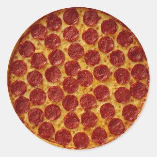 PEPPERONI PIZZA ROUND STICKER