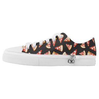 Pepperoni Pizza Slice Drawing Pattern Laced Shoes Printed Shoes